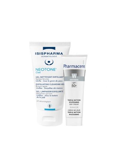 - ISISPHARMA NEOTONE Gel nettoyant exfoliant + Pharmaceris Crème De Jour Spf 50+