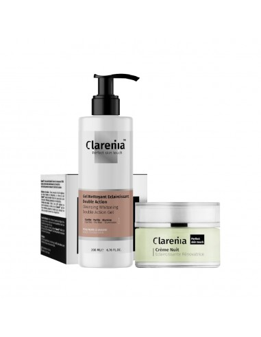 Clarenia - CLARENIA Gel Nettoyant Double Action + Crème Nuit Eclaircissante PMG