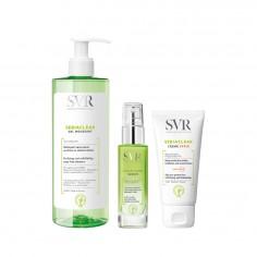 SVR - SVR gel moussant 400ml + Serum + SVR sebiaclear crème SPF50+